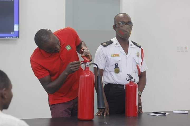Ghana Fire Service Collaborated With Lesfam Company Ltd On How To Use Fire Extinguisher