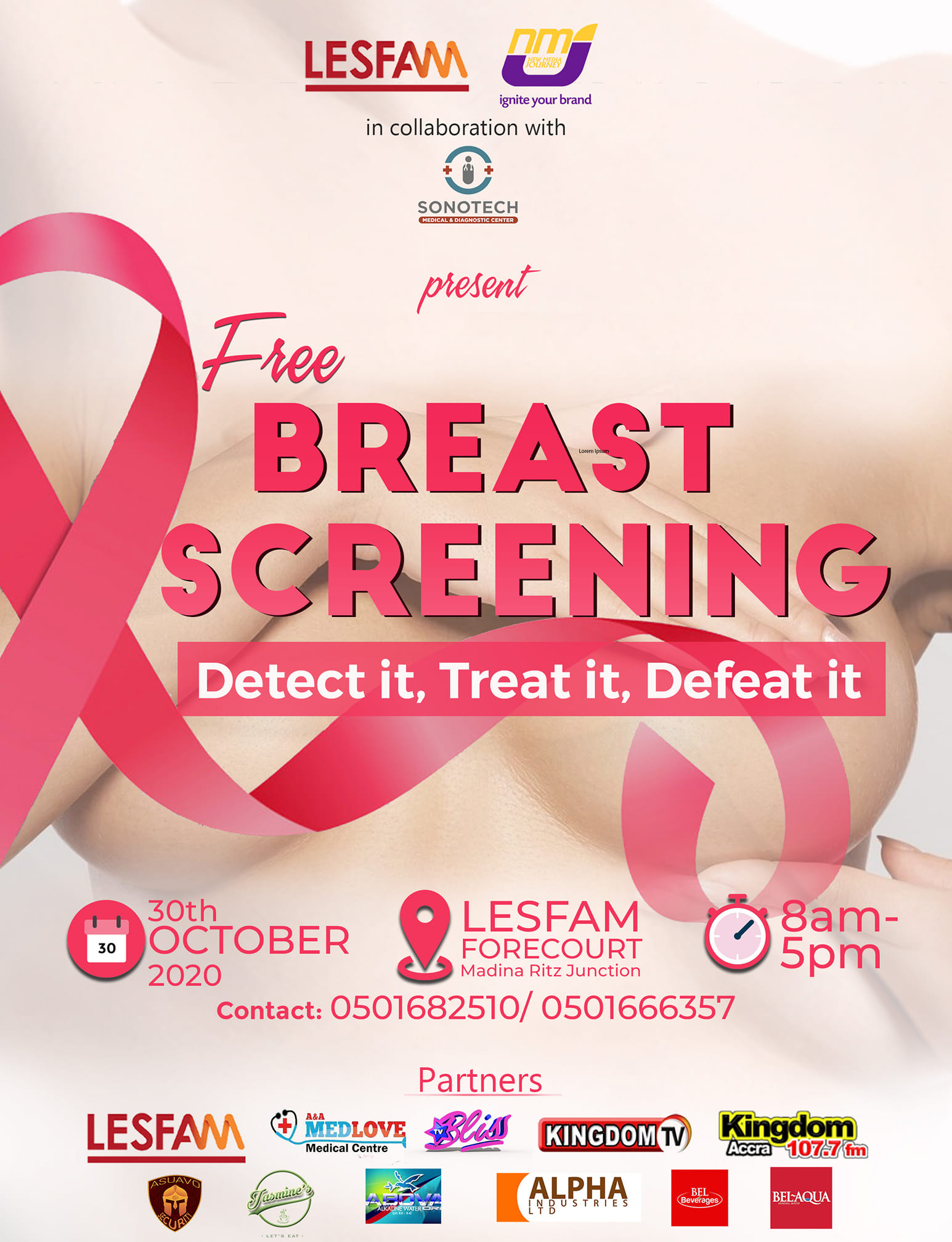 Lesfam Company Ltd to organize A free breast cancer screening on 30th Oct.