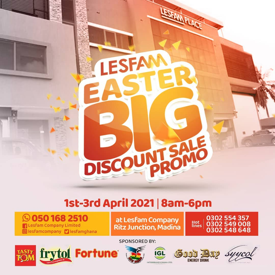 LESFAM EASTER BIG DISCOUNT SALE PROMO COMES OFF 1ST, 2ND & 3RD APRIL 2021