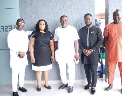 Dr. Kwaku Oteng, Samuel Kofi Acheampong,CEO ABN, Mr.Vincent Opare, Marketing Dir. of Angle Group of Companies visits Lesfam Compand Ltd.